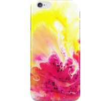 Yellow Orchid abstract yellow and pink and  white on round canvas iPhone Case/Skin