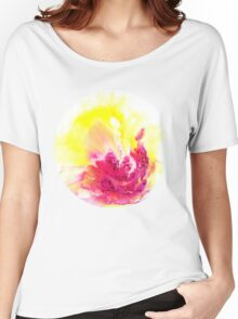 Yellow Orchid abstract yellow and pink and  white on round canvas Women's Relaxed Fit T-Shirt