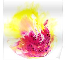 Yellow Orchid abstract yellow and pink and  white on round canvas Poster