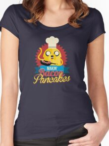Jake The Dog Making Bacon Pancakes Women's Fitted Scoop T-Shirt