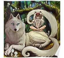 Wolf Princess in the Forest Poster