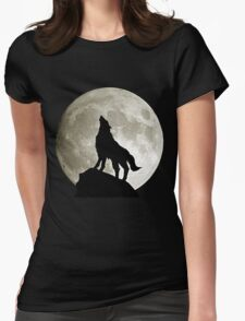 Wolf under the moon by remi42 Womens Fitted T-Shirt