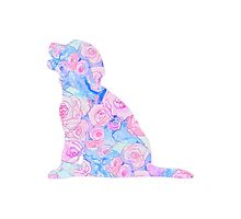Sitting Floral Puppy Photographic Print