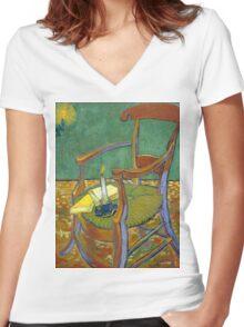 1888-Vincent van Gogh-Gauguin's chair-72,5x90,3 Women's Fitted V-Neck T-Shirt