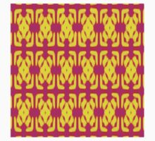 Pink and Yellow Woven Wallpaper One Piece - Short Sleeve