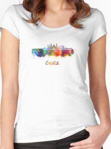 Cadiz skyline in watercolor Women's Fitted Scoop T-Shirt