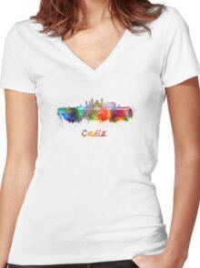 Cadiz skyline in watercolor Women's Fitted V-Neck T-Shirt