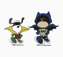 Batman and Robin Peanuts Kids Tee