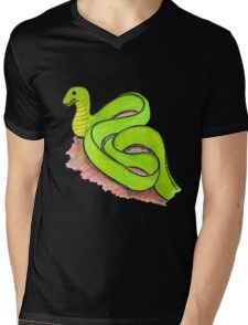 Cute little green snake Mens V-Neck T-Shirt