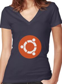 ubuntu Women's Fitted V-Neck T-Shirt
