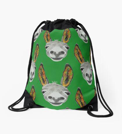 Funny donkey (orange/red/green) Drawstring Bag