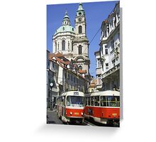 Skoda Trams, Prague Greeting Card