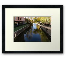 Sunny Towpath - Reflections in Chesapeake and Ohio Canal in Georgetown, Washington, DC Framed Print
