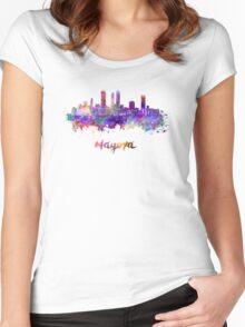 Nagoya skyline in watercolor Women's Fitted Scoop T-Shirt