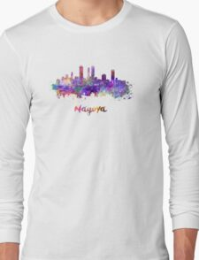 Nagoya skyline in watercolor Long Sleeve T-Shirt