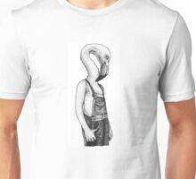 flamingo in overalls Unisex T-Shirt