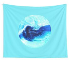 abstract blue turquoise aqua wave ocean painting on round canvas - Mosman Bay Wall Tapestry