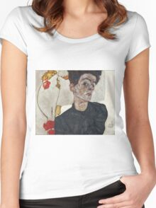 Egon Schiele - Self-Portrait with Chinese Lantern Plant 1912  Expressionism  Portrait Women's Fitted Scoop T-Shirt