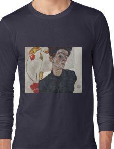 Egon Schiele - Self-Portrait with Chinese Lantern Plant 1912  Expressionism  Portrait Long Sleeve T-Shirt