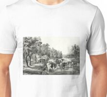 Farm life in summer - The cooling stream - 1867 - Currier & Ives Unisex T-Shirt