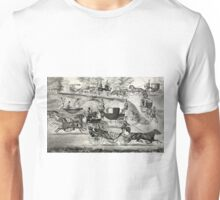 Fashionable turn-outs in Central Park - 1869 - Currier & Ives Unisex T-Shirt