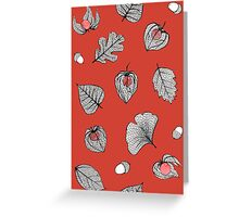 Red Physalis and skeleton leaves Greeting Card