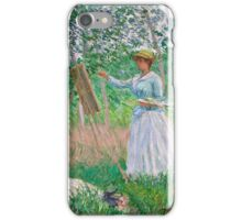 Claude Monet - In the Woods at Giverny Blanche Hoschedé at Her Easel with Suzanne Hoschedé Reading , Impressionism iPhone Case/Skin