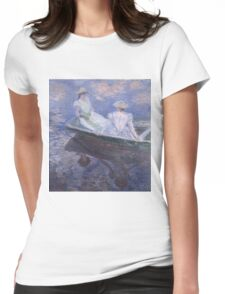 Claude Monet - On the Boat (1887) Impressionism Womens Fitted T-Shirt