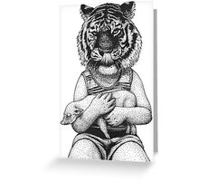 tiger boy with little pig Greeting Card
