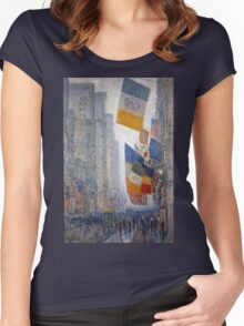 Childe Hassam - Lincoln s Birthday Flags 1918 American Impressionism Landscape Women's Fitted Scoop T-Shirt