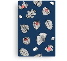 Blue Physalis and skeleton leaves Canvas Print