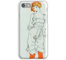 Egon Schiele - Woman in Underclothes and Stockings Wally Neuzil 1913  Expressionism Woman Portrait iPhone Case/Skin