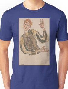 Egon Schiele - Self-Portrait with Striped Armlets 1915  Expressionism  Portrait Unisex T-Shirt