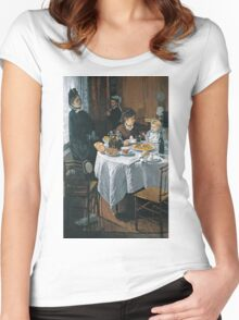 Claude Monet - The Luncheon ,Impressionism Women's Fitted Scoop T-Shirt