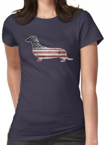 Patriotic Dachshund Dog, American Flag Womens Fitted T-Shirt