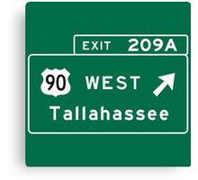 Tallahassee, FL Road Sign, USA Canvas Print