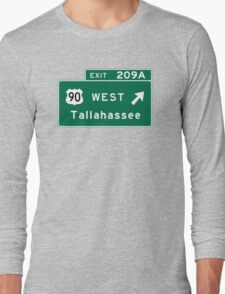 Tallahassee, FL Road Sign, USA Long Sleeve T-Shirt