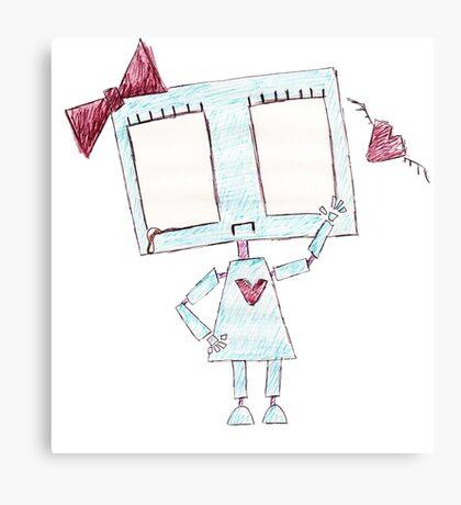 Sad girl robot Canvas Print