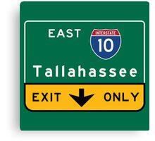 Tallahassee I10, FL Road Sign, USA Canvas Print