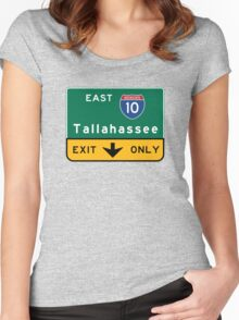 Tallahassee I10, FL Road Sign, USA Women's Fitted Scoop T-Shirt