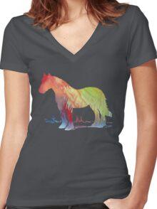 Horse portrait Women's Fitted V-Neck T-Shirt