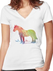 Horse portrait Women's Fitted V-Neck T-Shirt