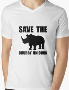 Chubby Unicorn Rhino Mens V-Neck T-Shirt