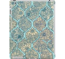 Moroccan Floral Lattice Arrangement - aqua / teal iPad Case/Skin