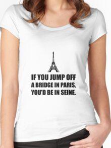 Paris Bridge In Seine Women's Fitted Scoop T-Shirt