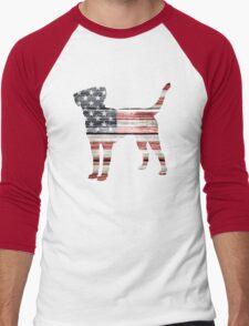 Patriotic Labrador Retriever, American Flag Men's Baseball ¾ T-Shirt