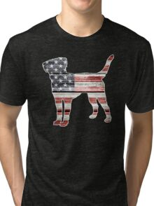 Patriotic Labrador Retriever, American Flag Tri-blend T-Shirt