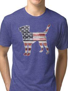 Patriotic Labrador Retriever, American Flag Tri-blend T-Shirt