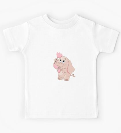 Pink Cartoon Elephant Kids Tee