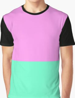 Elegant Teal and Purple Color Blocks Graphic T-Shirt
